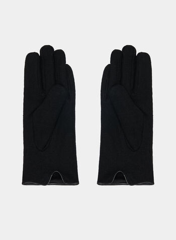 Faux Leather Trim Gloves, Black, hi-res