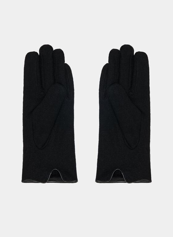 Faux Leather Trim Gloves, Black, hi-res