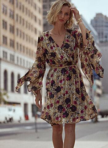 Robe fleurie à manches édentées et ceinture, Multi,  robe cocktail, fleurs, col croisé, ceinture chaîne, manches édentées, mousseline, automne hiver 2020