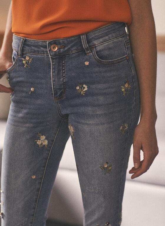 Jeans étroit brodé , Bleu