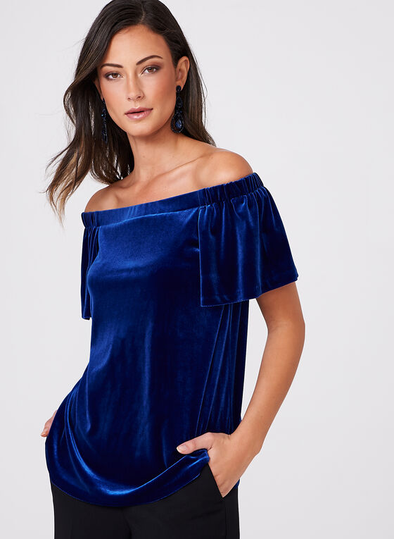 Frank Lyman - Off The Shoulder Velvet Blouse, Blue, hi-res