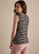 Sleeveless Stripe Print Top, Black