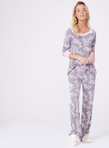 Floral Print Lace Trim Pajama Set, , hi-res