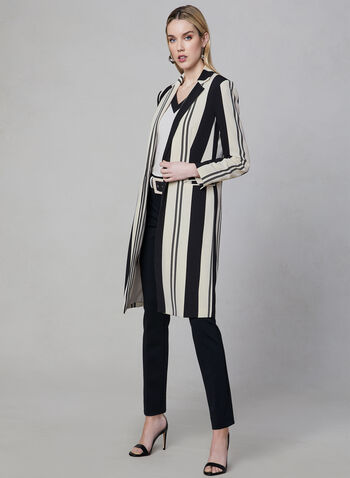 Stripe Print Long Jacket, Black, hi-res