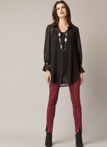 Vegan Leather Detail Tunic, Black,  fall winter 2020, tunic, shirt, buttons, blouse, chiffon, Long sleeves, vegan leather