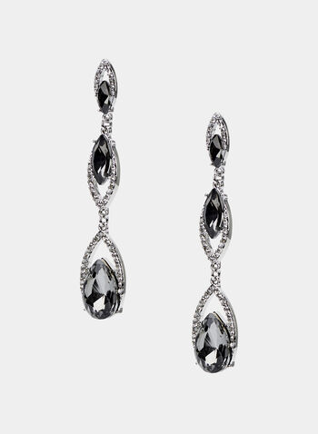 Tiered Crystal Dangle Earrings, Grey, hi-res