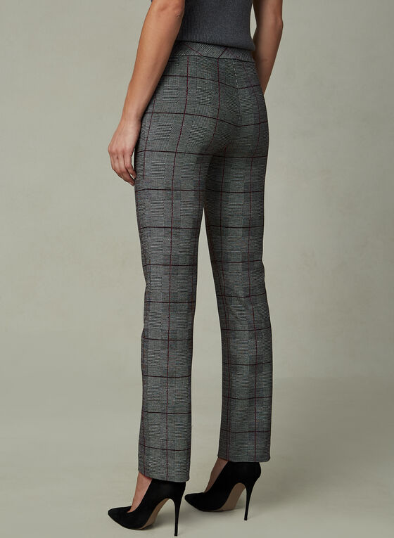Madison Windowpane Print Pants, Black, hi-res