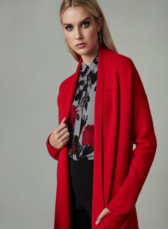 Conrad C - Open Front Cardigan, Red, hi-res