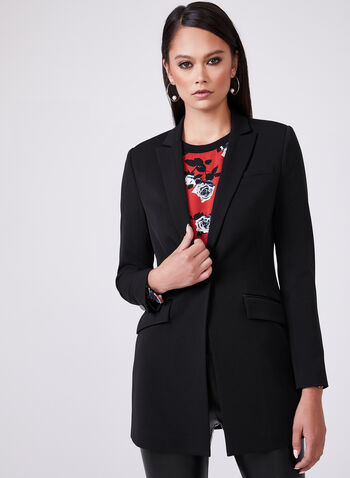Notched Collar Long Blazer, Black, hi-res
