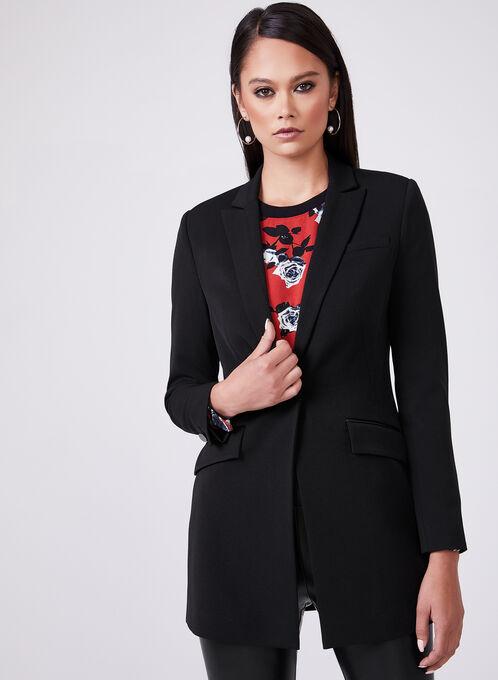 Veste tailleur longue à col cranté, Noir, hi-res