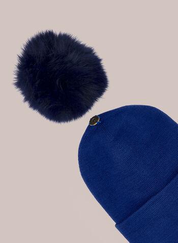 Bonnet côtelé à large pompon , Bleu,  automne hiver 2020, cadeau, fêtes, fêtes 2020, tuque, bonnet, tricot, torsades, pompon, fausse fourrure