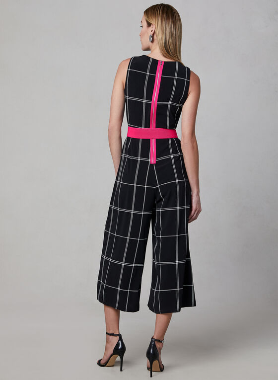 Window Pane Print Jumpsuit, Black