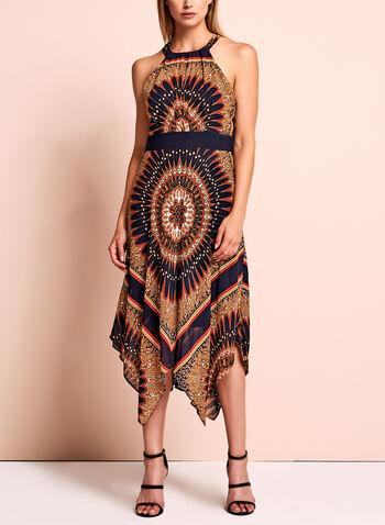 Sandra Darren - Robe col licou et motif aztèque , Bleu, hi-res