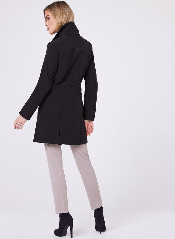 Novelti - Faux Fur Collar Softshell Coat, Black, hi-res