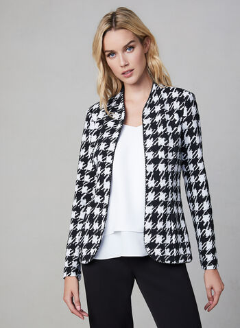 Frank Lyman – Houndstooth Open Front Blazer, Black, hi-res,  Open jacket, knit jacket, knit blazer, houndstooth print jacket