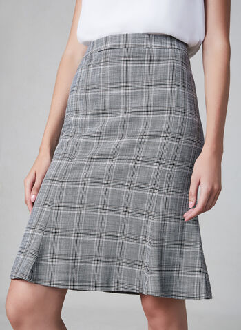 Plaid Print Skirt, Grey,  skirt, plaid print, trumpet, fall 2019, winter 2019