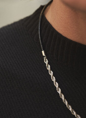 Twisted Chain & Leather Cord Necklace, Silver,  fall winter 2021, accessories, jewellery, jewelry, necklace, twisted, chain, leather, cord, lobster clasp