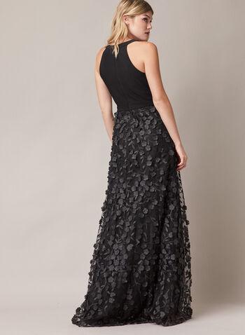 BA Nites - Robe sans manches et jupe à fleurs, Noir,  robe de soirée, sans manches, col v, fleurs, 3D, fente, printemps été 2020