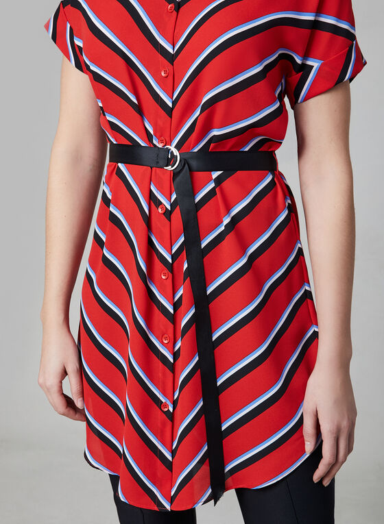 Mitred Stripe Tunic Blouse, Red