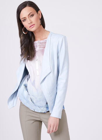 Vex - Open Front Faux Suede Jacket , Blue, hi-res