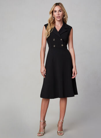 Sandra Darren - Sleeveless Shirt Dress, Black, hi-res,  dress, shirt dress, sleeveless, sandra darren, shirt collar, crepe, professional, little black dress, fall 2019