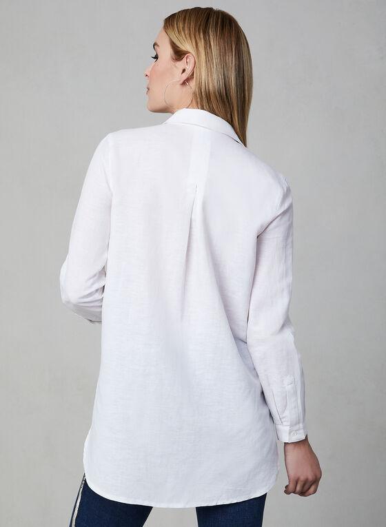 Linen Tunic Blouse, White, hi-res