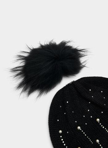 Tuque à cristaux et pompon amovible, Noir,  tuque, laine mélangée, cristaux, perles, pompon, fausse fourrure, amovible, automne hiver 2019