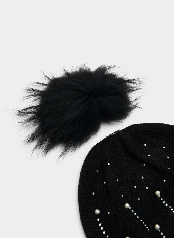 Tuque à cristaux et pompon amovible, Noir
