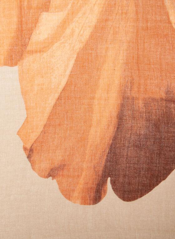 Foulard léger à gros motif floral, Orange, hi-res