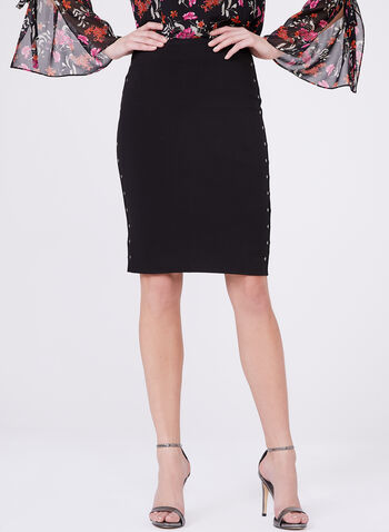 Studded Ponte Pencil Skirt, Black, hi-res