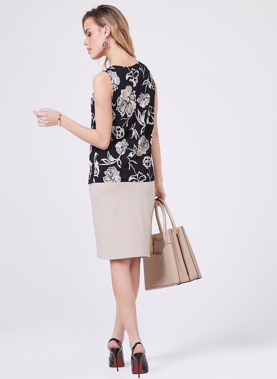Sleeveless Floral Print Blouse, Grey, hi-res
