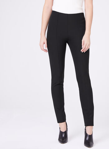 Louben - Pantalon à jambe étroite en tricot extensible, Noir, hi-res