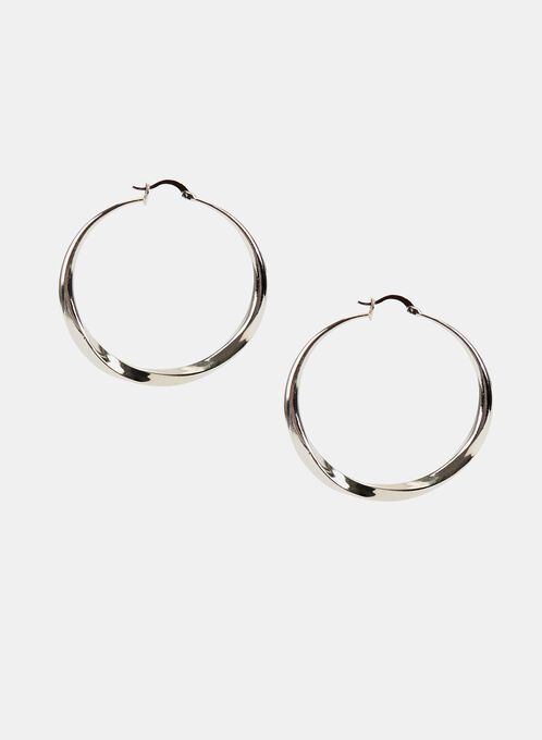 Boucles d'oreilles à anneaux effet torsadé, Argent, hi-res