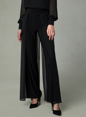 Chiffon Panel Wide Leg Pants, Black, hi-res
