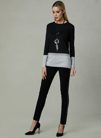 Long Sleeve Colour Block Sweater, Black, hi-res