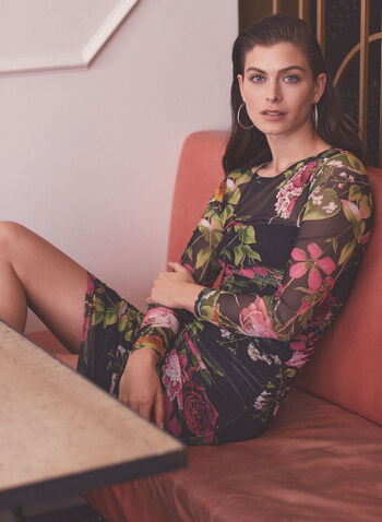 Floral Print Fitted Day Dress, Black,  dress, day, floral, fitted, round neck, 3/4 sleeves, midi, gathered, spring summer 2021