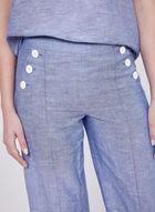Button Detail Linen Culottes, Blue, hi-res