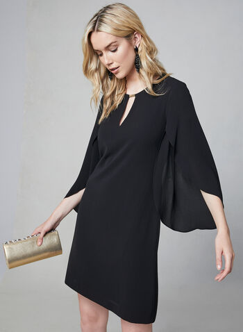 Kensie - Slit Bell Sleeve Dress, Black, hi-res