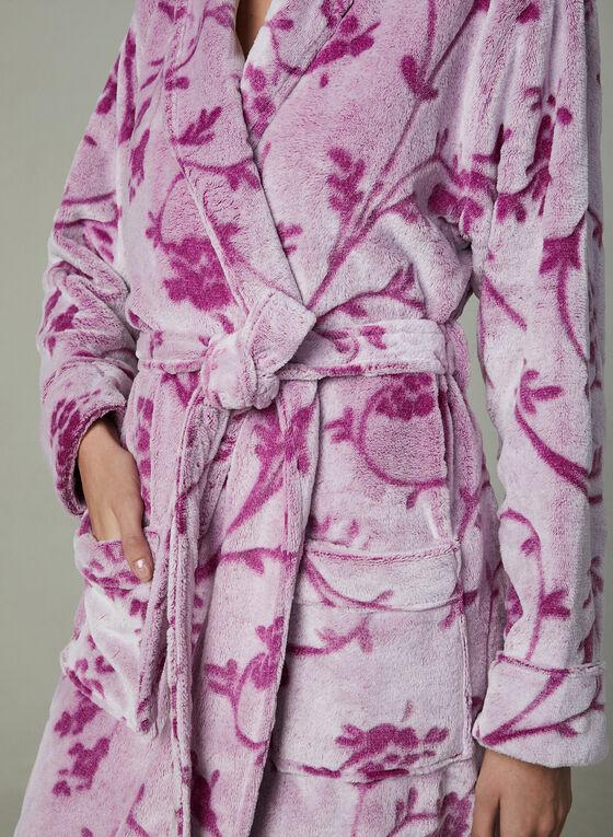 Chic-a-mo - Robe de chambre fleurie en polaire, Violet, hi-res