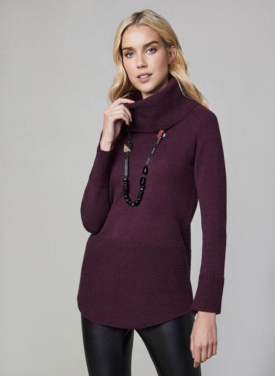 Pull à col roulé en tricot gaufré, Violet
