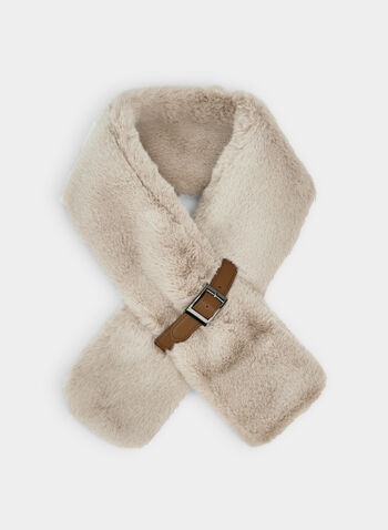 Fake Fur Scarf, Off White,  fake fur, scarf, solid, belt, slip, fall 2019, winter 2019