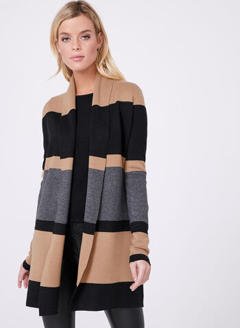 Colour Block Stripe Long Cardigan, Brown, hi-res