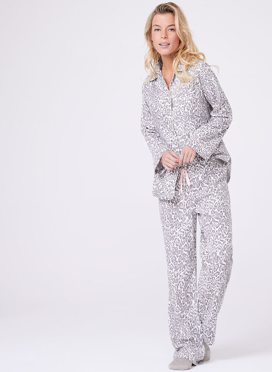Kathy Ireland - Ensemble pyjama à motif léopard, Blanc, hi-res
