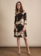 Chain Motif 3/4 Sleeve Dress, Black