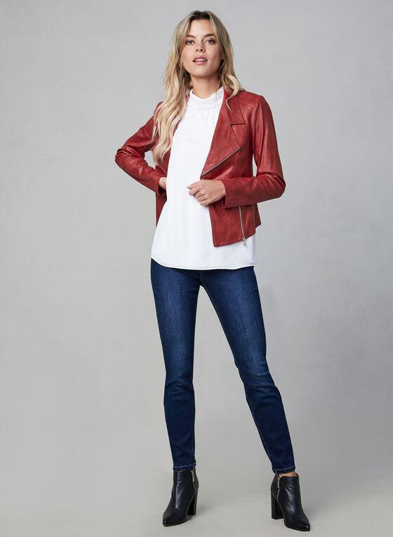 Vex - Blazer en faux cuir et détails zippés, Rouge, hi-res