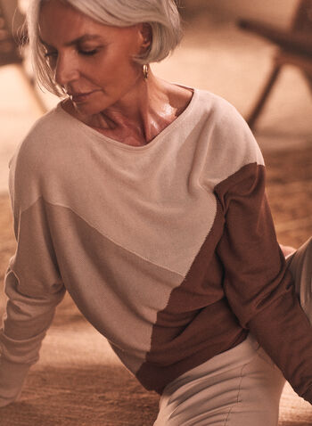 Colour Block Dolman Sleeve Sweater, Brown,  knit, sweater, pullover, colour blocks, ribbed knit, dolman sleeves, spring summer 2020
