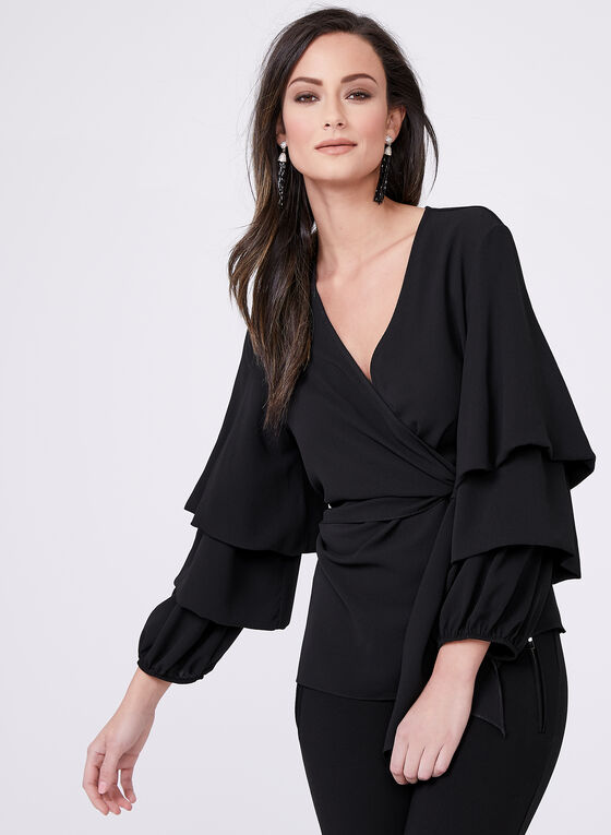 Frank Lyman - Calypso Sleeve Surplice Top, Black, hi-res