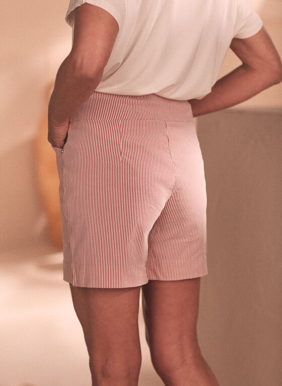Railroad Stripe Print Shorts, Red