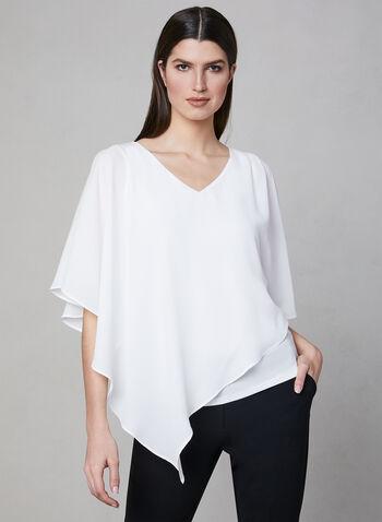 Blouse asymétrique à superposition, Blanc cassé,  blouse, asymétrie, col V, manches 3/4, printemps 2019