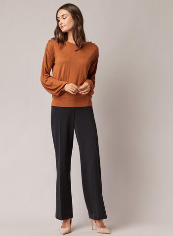 Soho Fit Wide Leg Pants, Black,  pants, soho, wide leg, button details, pleats, fall winter 2020